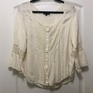 American Eagle Button Up Peasant Top